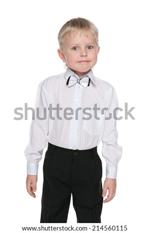 A portrait of a little schoolboy against the white background