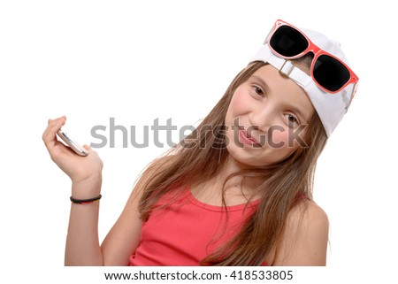 a portrait of a lovely little girl with sunglasses