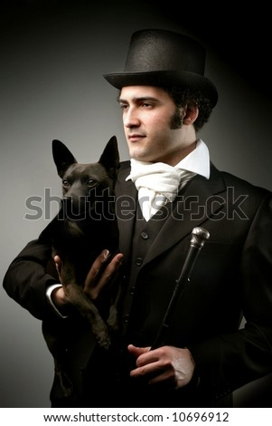 a portrait of a man with a dog - stock photo