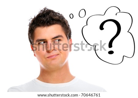 A portrait of a man with a question mark over white background - stock photo