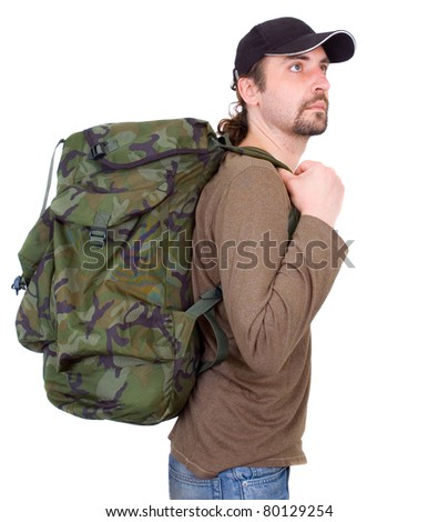 A portrait of a man with backpack isolated on white background - stock photo