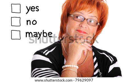 A portrait of a mature woman trying to make decision over white background - stock photo