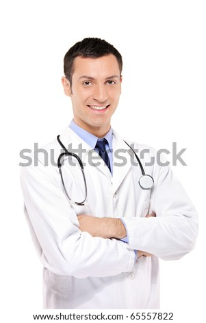 A portrait of a medical doctor posing against white background