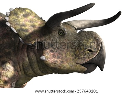 A portrait of a Nasutoceratops dinosaur - 3D render. - stock photo