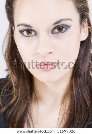 a portrait of a real beautiful young surprised girl - stock photo