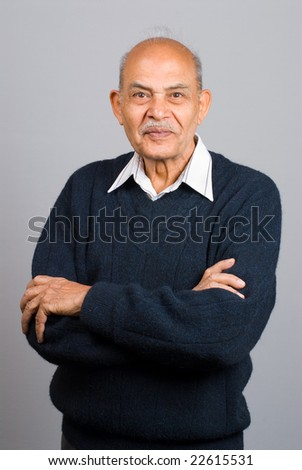 A portrait of a senior Asian Indian man - stock photo