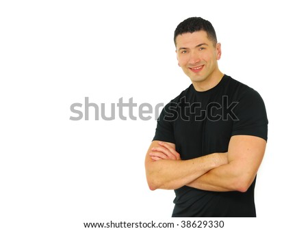 A portrait of a smiling Caucasian athletic man with his arms crossed isolated over white background. - stock photo
