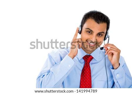 A portrait of a smiling customer service representative  - stock photo