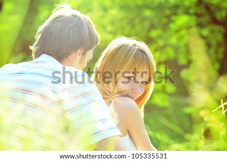 A portrait of a sweet couple in love - stock photo