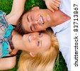 A portrait of a sweet couple in love. Photo from above. Horizontal. - stock