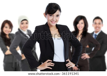 A portrait of a Team of asian young businessperson, isolated in white background - stock photo