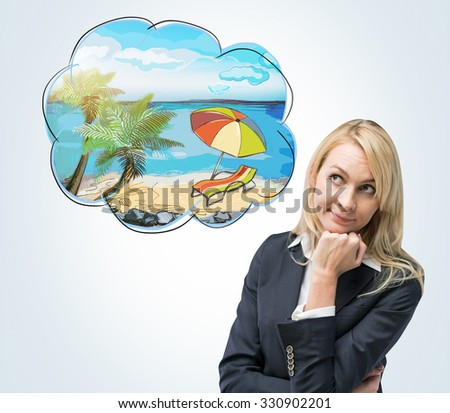 A portrait of a thoughtful blonde woman who dreams about summer vacation on the beach. A nice summer place is drawn in the thought bubble. Light blue background. - stock photo