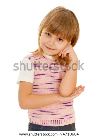 A portrait of a thoughtful little girl in pink; isolated on the white background - stock photo