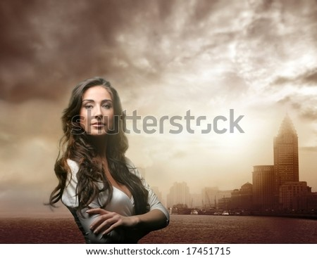 a portrait of a woman and shanghai  skyline - stock photo