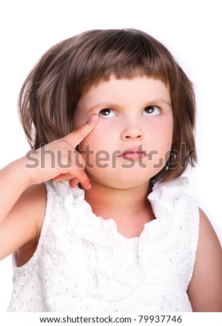 A portrait of a young adorable having an idea over white background - stock photo