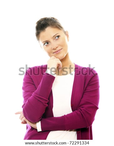 A portrait of a young beautiful woman lost in her thoughts over white background - stock photo