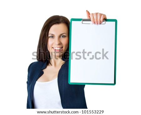 A portrait of a young business woman in an office with documents in her arms - stock photo