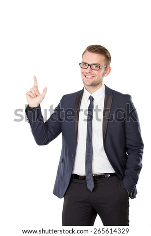 A portrait of a young businessman get inspiration, isolated businessman pointing up to copyspace - stock photo