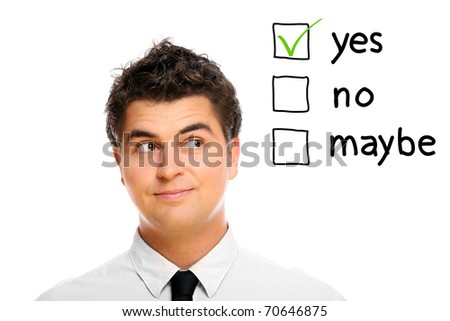 A portrait of a young businessman making decision - stock photo
