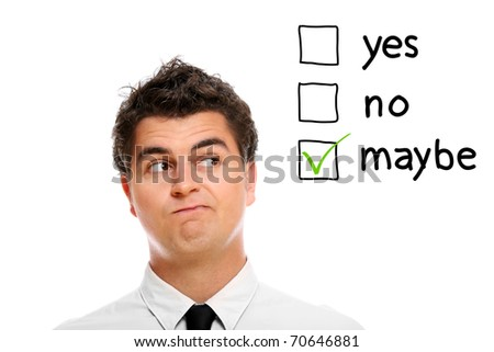 A portrait of a young businessman making decision over white background