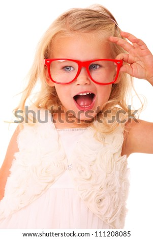 A portrait of a young girl model posing with red glasses over white background - stock photo