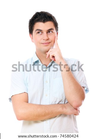 A portrait of a young handsome man lost in his thoughts over white background - stock photo