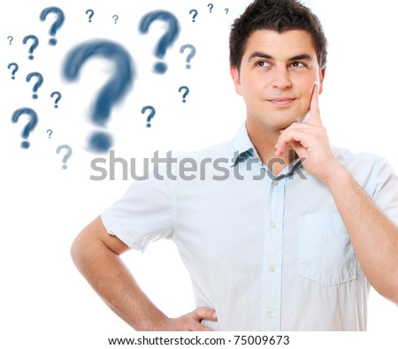 A portrait of a young handsome man with questions over white background - stock photo
