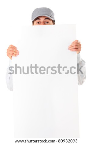A portrait of a young man holding a banner over white background
