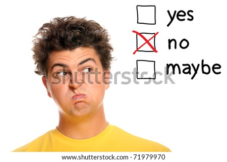 A portrait of a young man making decisions over white background