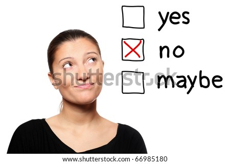 A portrait of a young woman voting for no over white background