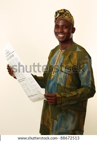 A portrait of an african american man with newspaper, isolated on white background