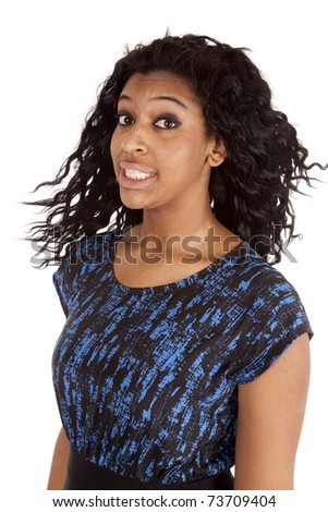 A portrait of an African American woman smiling. - stock photo