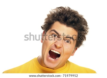 A portrait of an angry man shouting against white background - stock photo