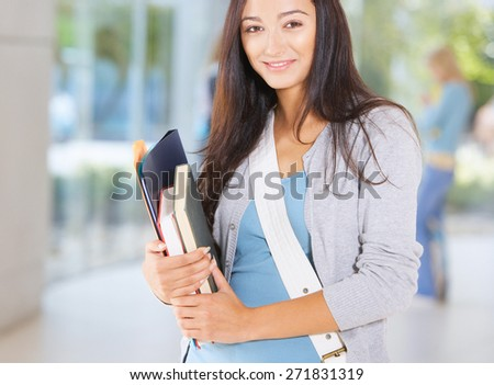 A portrait of an  college student - stock photo