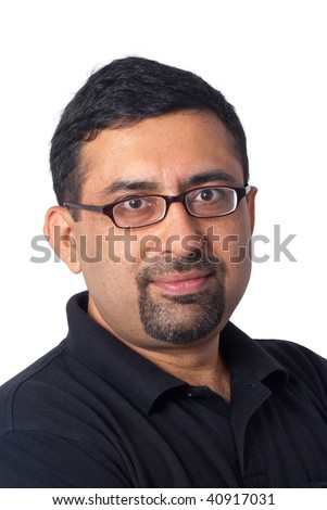 A portrait of an Indian man - isolated on white - stock photo