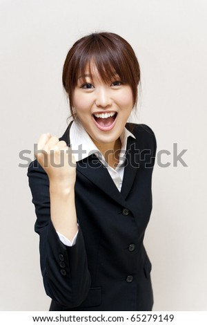 a portrait of asian business woman isolated on white background - stock photo