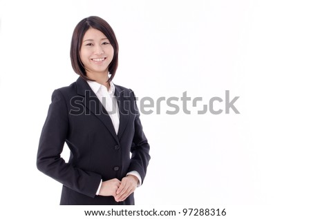 a portrait of asian businesswoman standing isolated on white background - stock photo