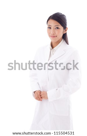 a portrait of asian doctor isolated on white background - stock photo
