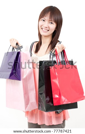 a portrait of asian girl in the shopping