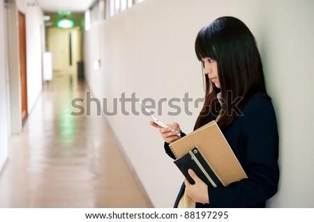 a portrait of asian high school girl - stock photo