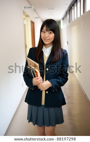 a portrait of asian high school girl