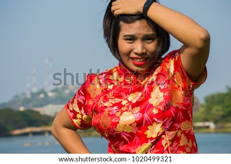 portrait asian woman traditional chinese dress stock photo