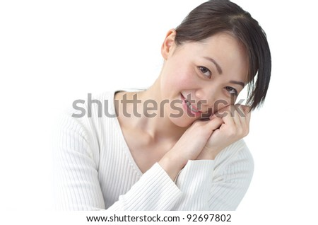 A portrait of attractive Asian woman, isolated on white background - stock photo