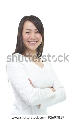 A portrait of attractive Asian woman, isolated on white background