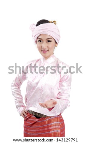 a portrait of attractive asian woman showing