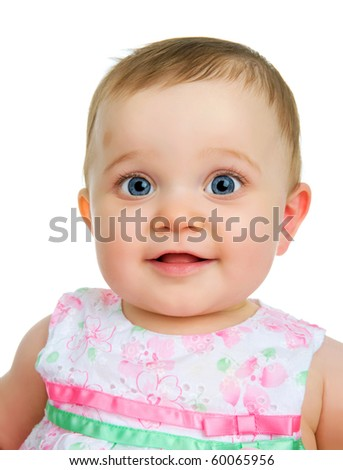 A portrait of baby girl isolated on a white background