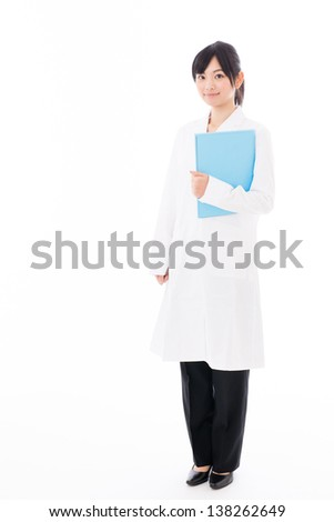 a portrait of beautiful asian doctor on white background - stock photo