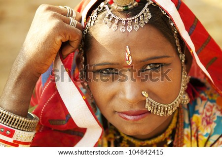 A portrait of beautiful Indian woman, Rajasthan, Jaisalmer, India - stock photo