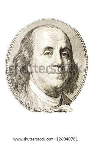 A portrait of Benjamin Franklin from 100 dollar bill.