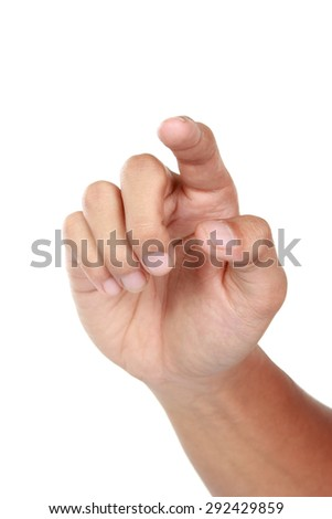A portrait of forefinger pressing imaginary button, hand gesturing, isolated in white background